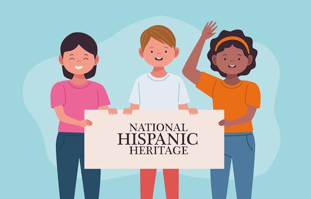 Celebração da herança hispânica nacional com pessoas erguendo estandartes