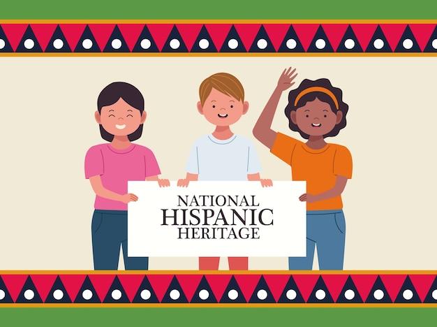 Celebração da herança hispânica nacional com pessoas levantando moldura de banner