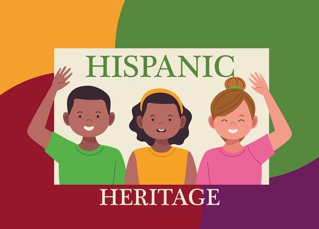 Celebração da herança nacional hispânica com letras e pessoas
