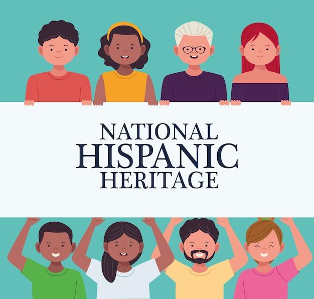 Celebração da herança nacional hispânica com personagens de pessoas da diversidade