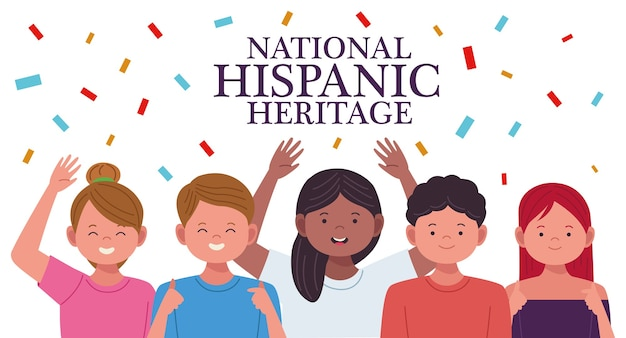 Celebração da herança nacional hispânica com personagens de pessoas e confetes