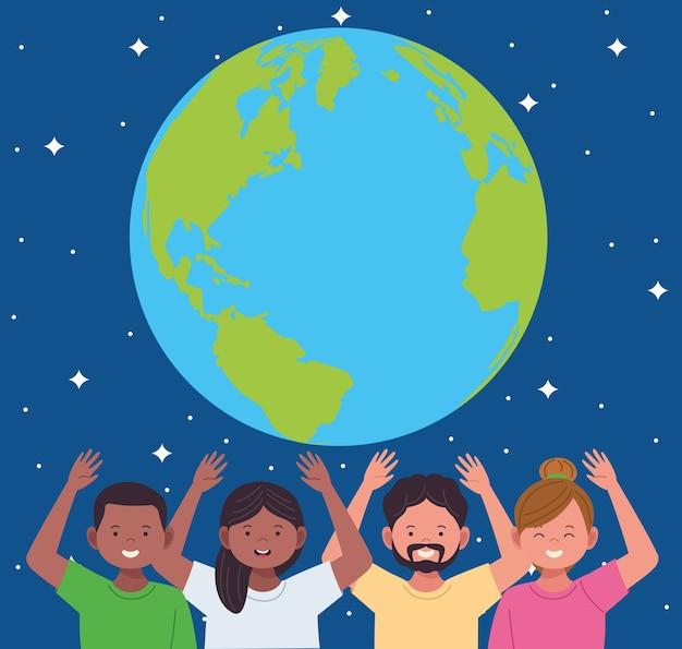 Celebração da herança nacional hispânica com personagens de pessoas e o planeta terra