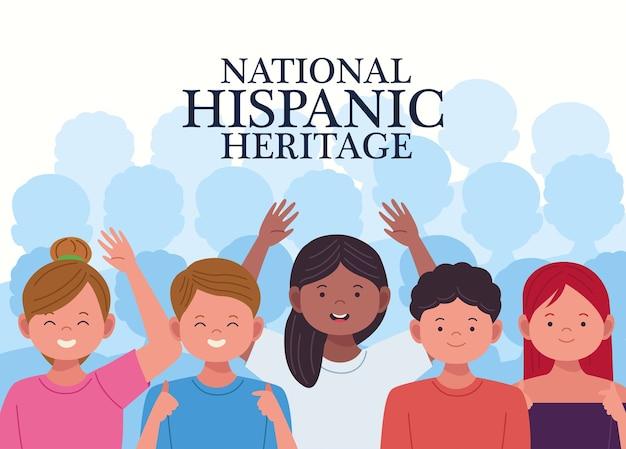 Celebração da herança nacional hispânica com personagens de pessoas em fundo branco