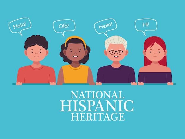 Celebração da herança nacional hispânica com pessoas e balões de fala