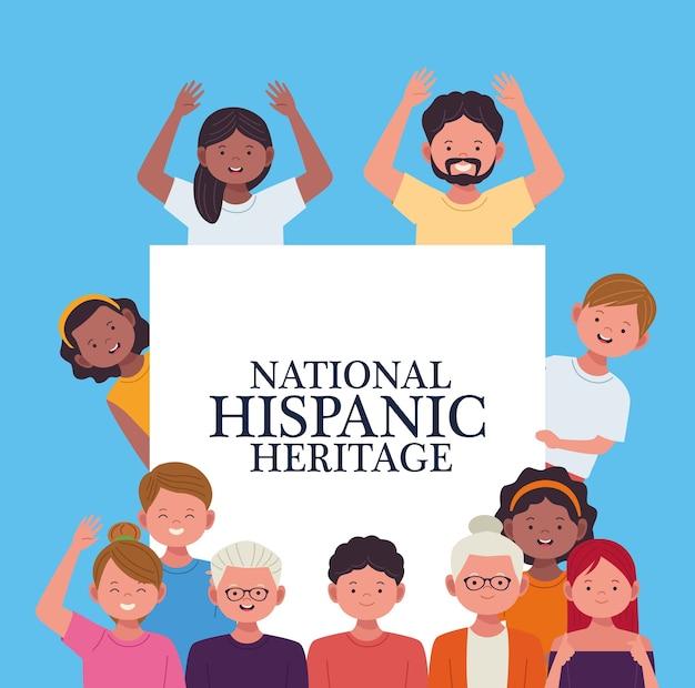 Celebração da herança nacional hispânica com pessoas e faixas de lettring