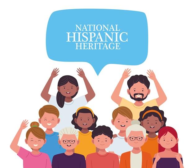 Celebração da herança nacional hispânica com pessoas e letras em balões de fala