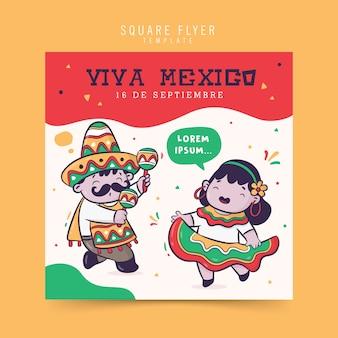Celebração da independência da viva méxico, design de folheto quadrado
