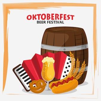 Celebração da oktoberfest com barril de cerveja e acordeão