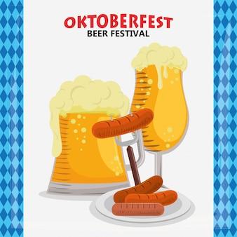 Celebração da oktoberfest com cerveja e salsichas