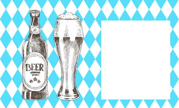 Celebração da oktoberfest conjunto de cerveja e moldura em branco