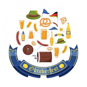 Celebração da oktoberfest conjunto de ícones