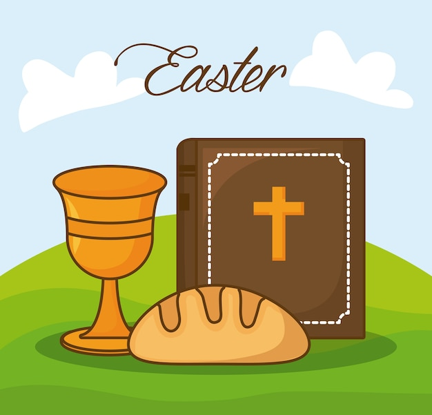 Celebração da páscoa com a bíblia e o santo graal sobre o fundo da paisagem