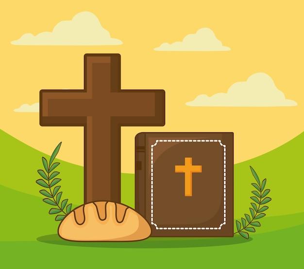 Celebração da páscoa com cruz cristã e bíblia com ícone de pão