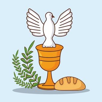 Celebração da páscoa com símbolos religiosos sobre fundo azul