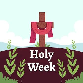Celebração da semana santa em design plano