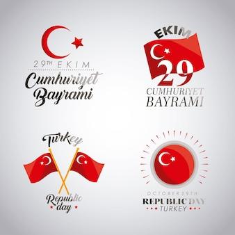Celebração da turquia com quatro ícones