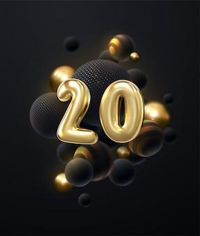 Celebração de 20 anos. números dourados com monte de balão preto. ilustração festiva.