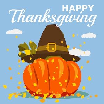 Celebração de ação de graças feliz com desenhos animados abóbora e folhas de outono. ilustração, design