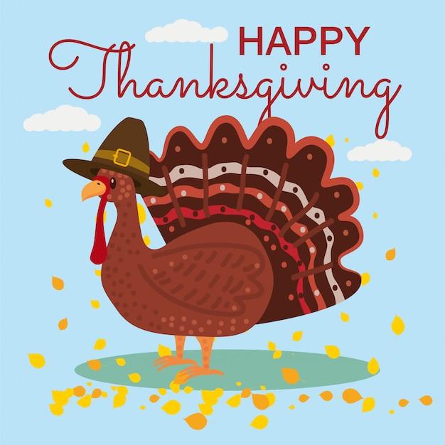 Celebração de ação de graças feliz com desenhos animados turquia e folhas de outono. ilustração, design