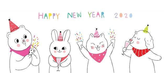 Celebração de animais fofos dos desenhos animados feliz ano novo