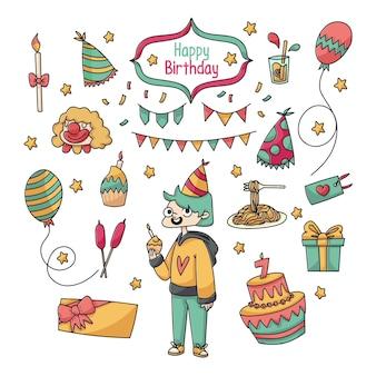 Celebração de aniversário bonito doodle coleção