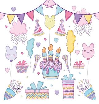 Celebração de aniversário com bandeiras de festa e balões