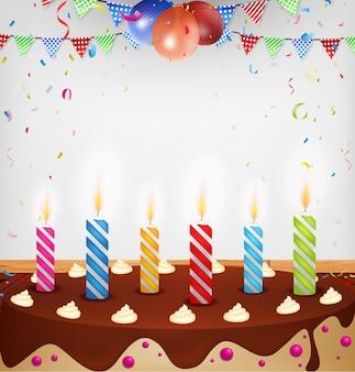 Celebração de aniversário com bolo e vela