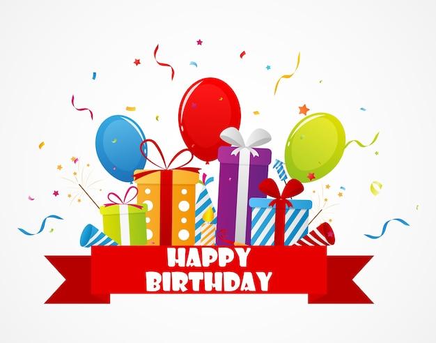 Celebração de aniversário com confete e ícone de festa