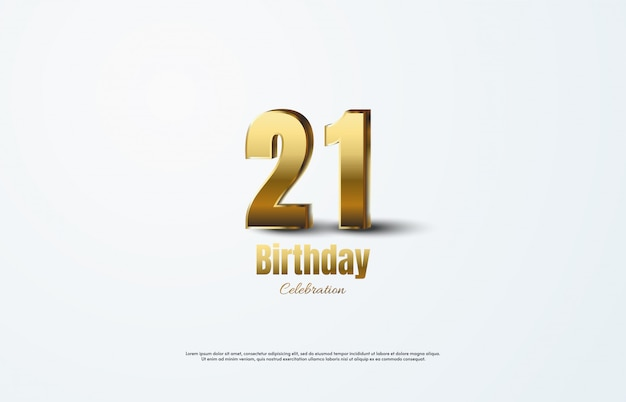 Celebração de aniversário com números 21 ouro 3d.