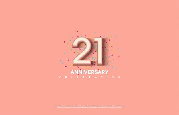 Celebração de aniversário com números 3d brancos sobre um fundo rosa.
