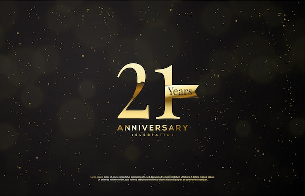 Celebração de aniversário com números de ouro com fitas de ouro sobre fundo escuro.