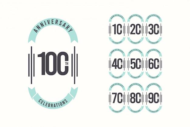 Celebração de aniversário de 100 anos elegante modelo design ilustração