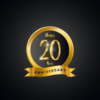 Celebração de aniversário de 20 anos com número dourado.