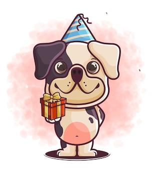 Celebração de aniversário de desenho de cachorro fofo desenhado à mão