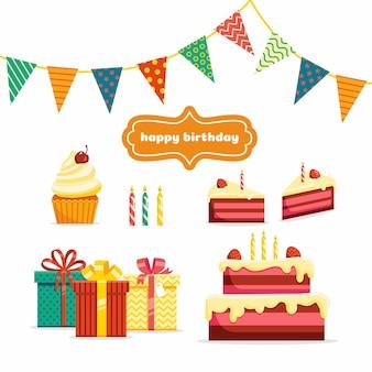 Celebração de aniversário decoração de festa de feriado ícones do vetor presentes bolo pedaços de bolo