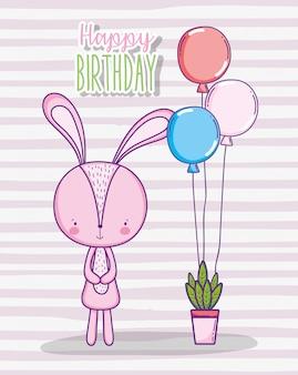Celebração de aniversário feliz coelho com balões e planta