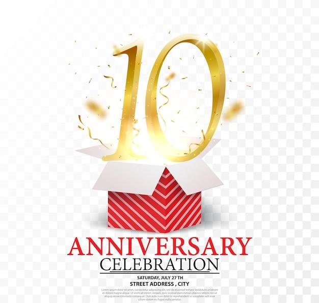Celebração de aniversário números dourados com confete dourado brilhante