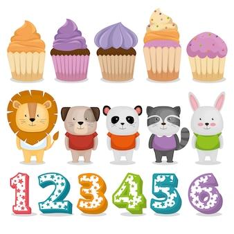 Celebração de aniversário set ícones vector design ilustração