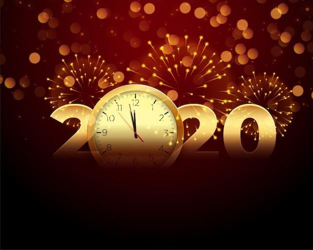 Celebração de ano novo de 2020 com relógio e fogo de artifício