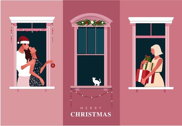 Celebração de ano novo ou natal. confinamento. quarentena de vida. molduras de janelas com vizinhos comemorando. ilustração colorida em estilo moderno simples.