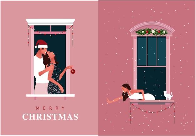Celebração de ano novo ou natal. confinamento. quarentena de vida. molduras de janelas com vizinhos comemorando. neve. ilustração colorida em estilo moderno simples.
