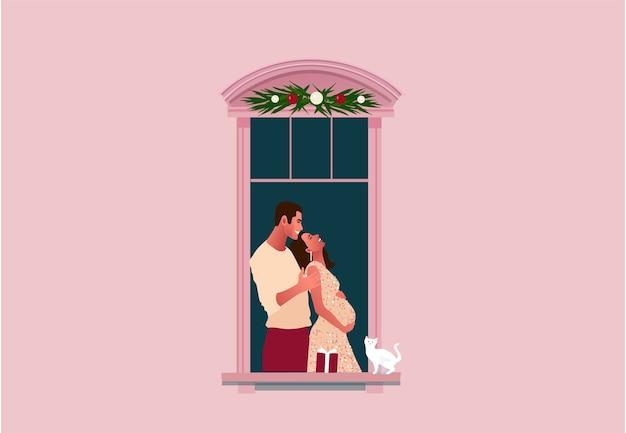 Celebração de ano novo ou natal. confinamento. quarentena de vida. molduras de janelas com vizinhos comemorando. neve. ilustração colorida em estilo moderno simples. Vetor Premium