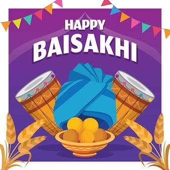 Celebração de baisakhi feliz design plano