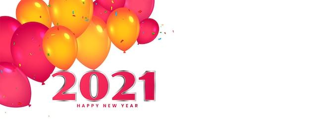 Celebração de balões de feliz ano novo 2021