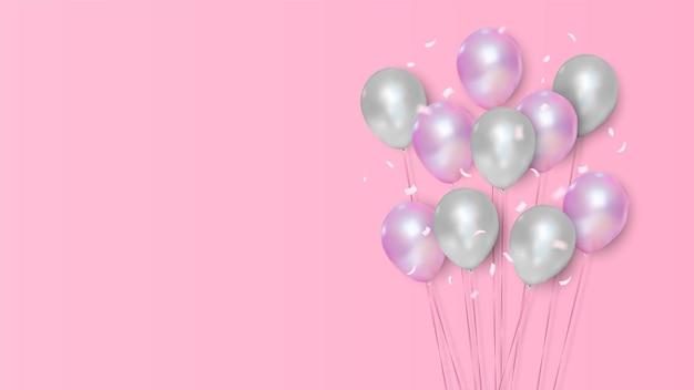 Celebração de balões rosa e branco