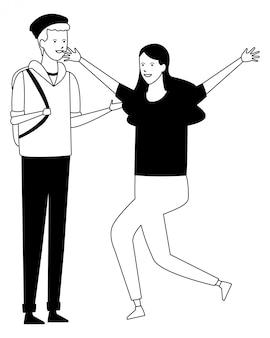 Celebração de casal de roupa de estudante