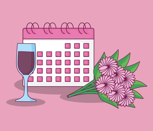 Celebração de casamento com calendário
