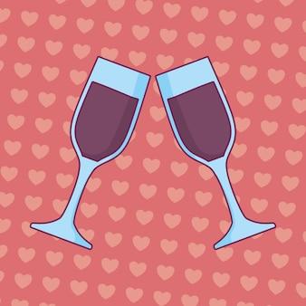 Celebração de casamento com copos brindando