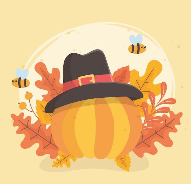 Celebração de chapéu de peregrino de abóbora de ação de graças feliz