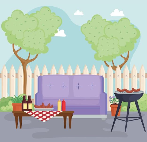 Celebração de churrasco no quintal